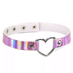 NEW!! ✨ HOLOGRAPHIC PINK HEART CHOKER NECKLACE